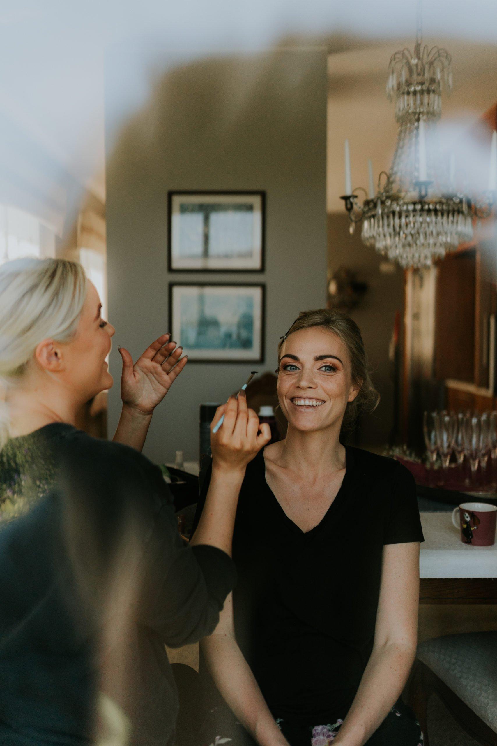 icelandic wedding, bride having makeup